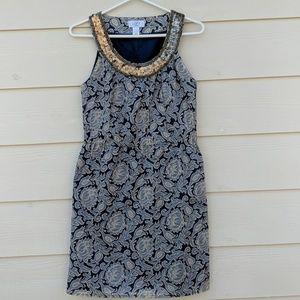 Blue Paisley Dress 2P Sequins Cotton